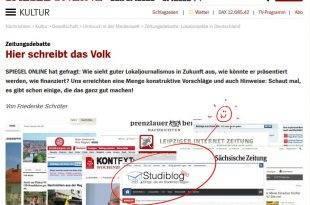 Screenshot der Spiegel online Seite auf der über StudiBlog berichtet wird