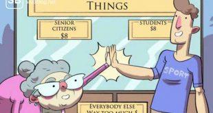 Oma und Student klatschen ab zum Thema warum Studenten wie Rentner sind