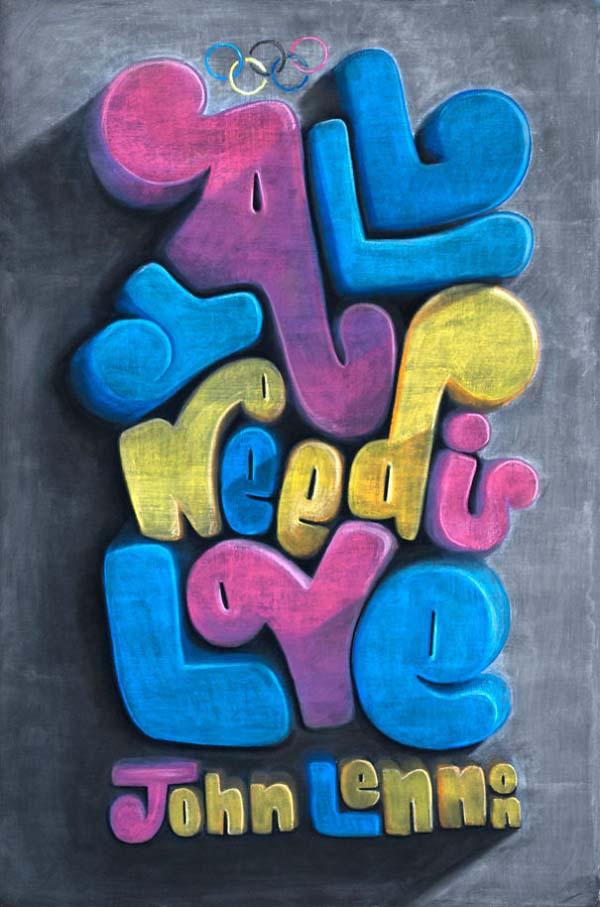 Kunstwerke auf Tafeln - John Lennon