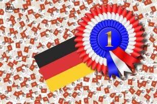 Bild mit Powerpoint Icons, einer deutschen Fahne und einem Sticker mit 1. Platz Beschriftung zum Thema Powerpoint Präsentationen werden von deutschen Profs geliefert