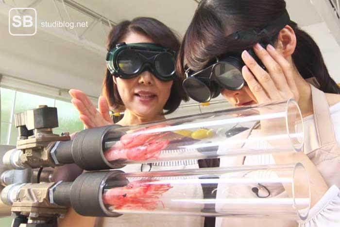 Zwei Japanerinnen begutachten die Shrimps-Kanone mit der man Shrimps frittieren kann