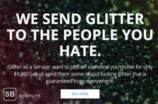 Werbung vom Startup, das Glitter verschickt