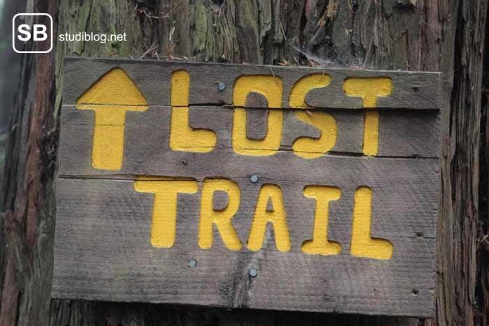 Ein Schild mit der Aufforderung, sich verloren zu fühlen