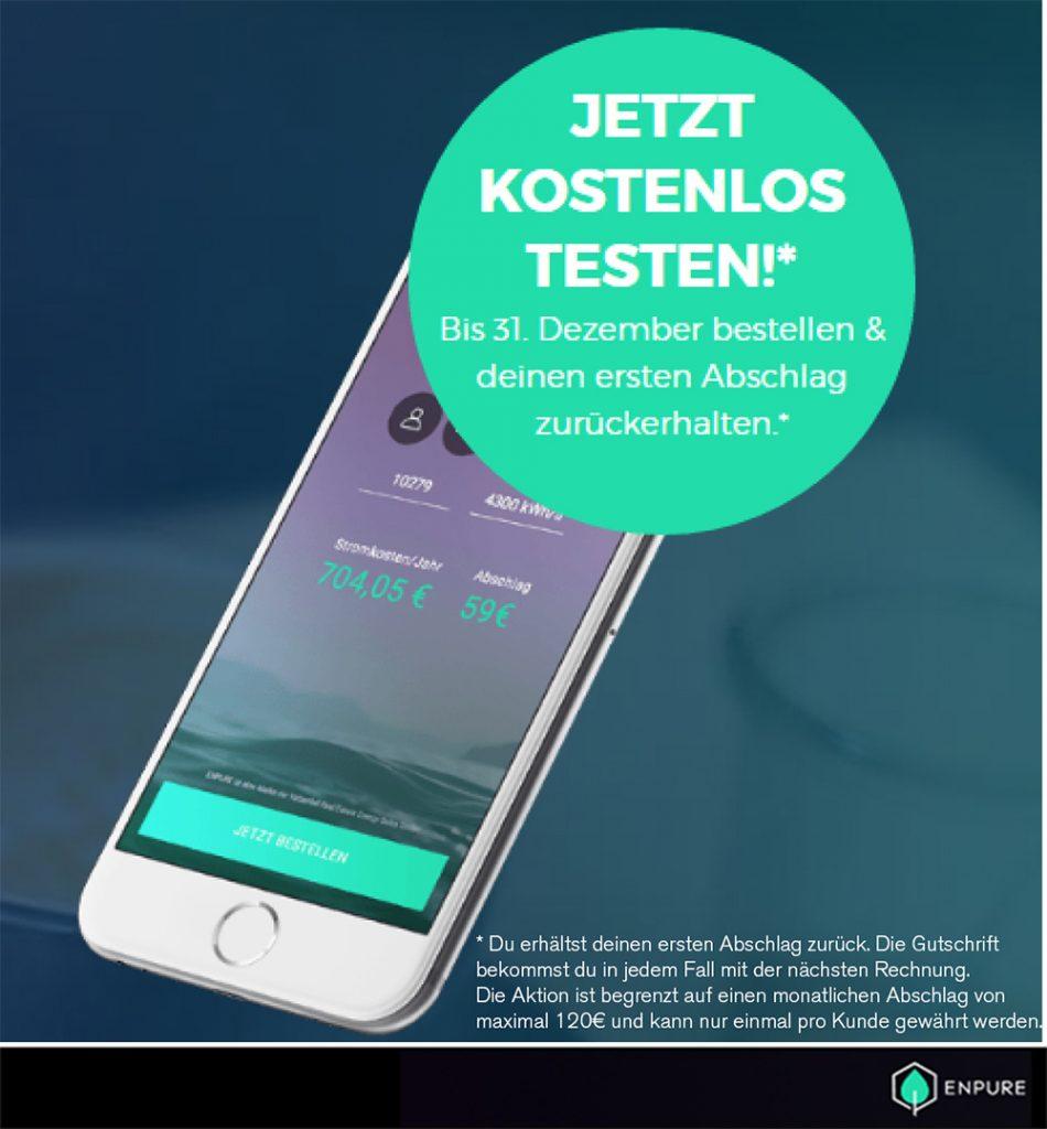 Handy mit offener Enpure App - jetzt den Stromtarif kostenlos testen.