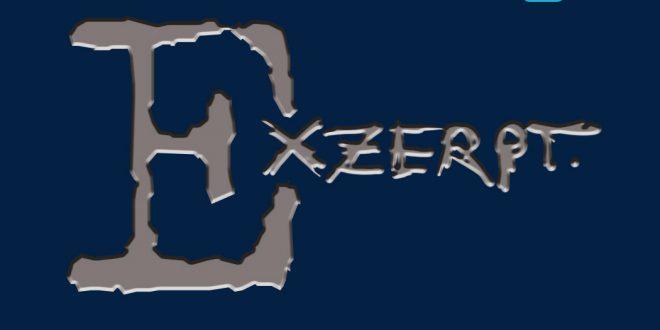 Der Begriff Exzerpt steht in grauer Schrift auf blauem Hintergrund.