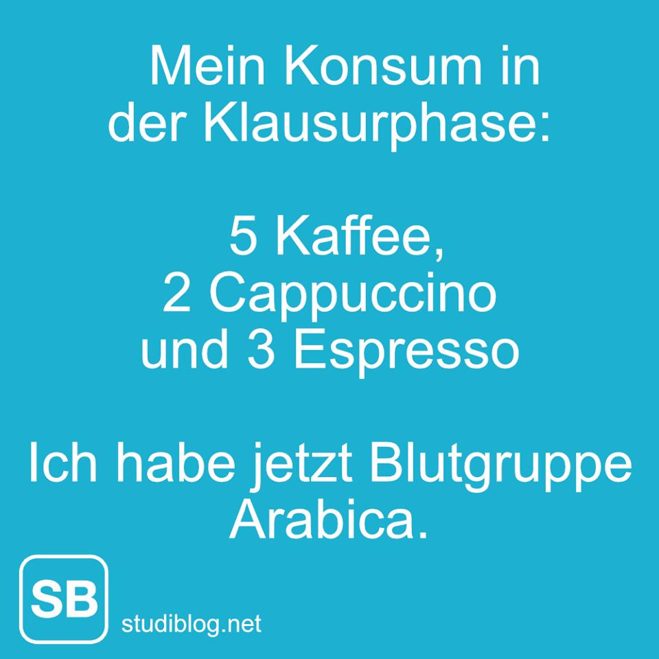 Mein Konsum in der Klausurphase, 5 Kaffee, 2 Cappuccino und 3 Espresso - Ich habe jetzt Blutgruppe Arabica