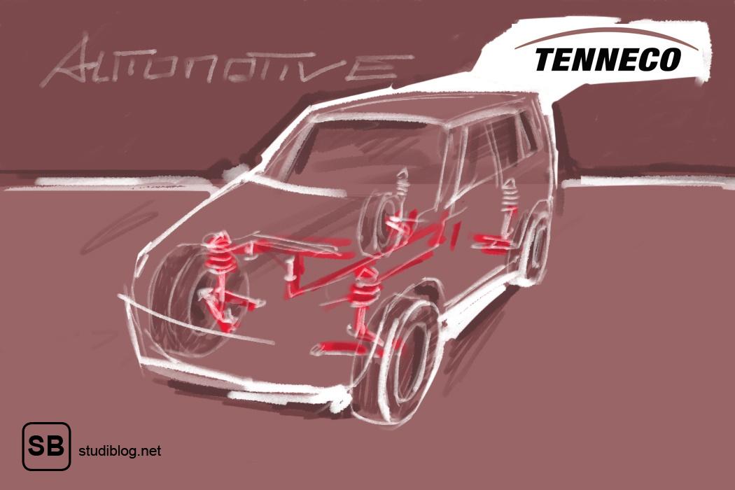 Skizziertes Auto mit Innenleben als Darstellung für die Firma Tenneco.