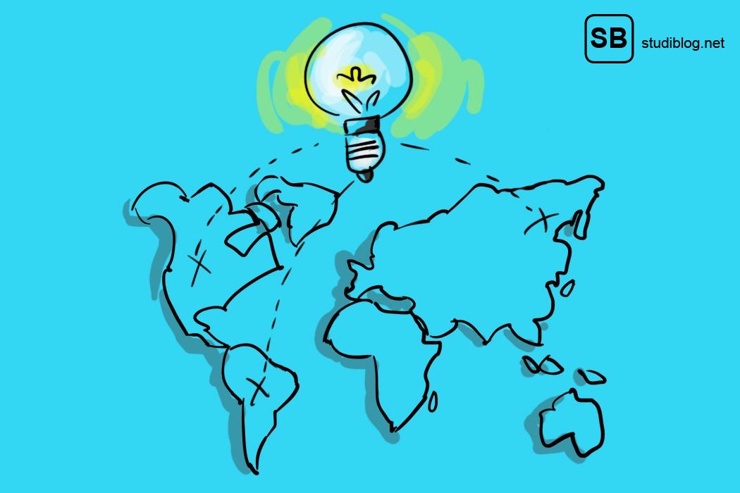 Eine Weltkarte mit drei verschiedenen Routen für Reisen.