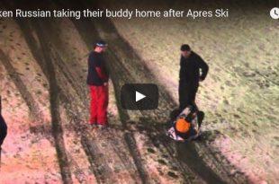 Beitragsbild zum Video in welchem 2 Saufkumpanen einen Dritten auf dem matschigen Boden hinter sich herziehen nach einer Sauftour