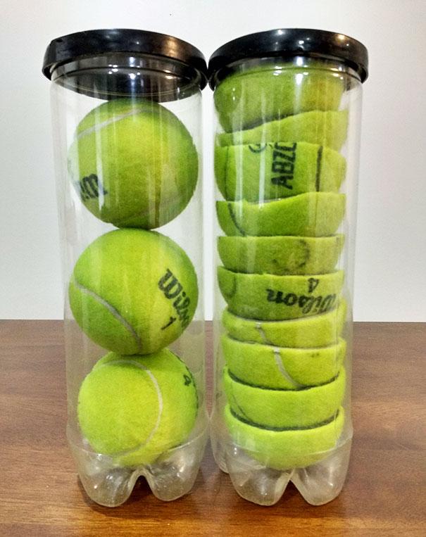 Lifehacks - Halbierte Tennisbälle brauchen in der Verpackung weniger Platz