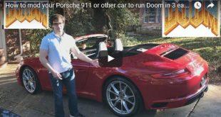 Beitragsbild zum Video von Youtuber Vexal, der einen Porsche 911 gehackt hat um mit diesem das Spiel Doom zu spielen und das während der Fahrt!