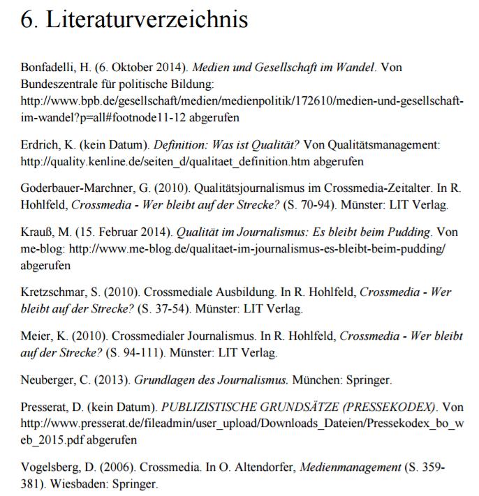 Literaturverzeichnis Beispiel Word