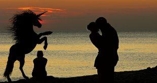 Pärchen, Single und Einhorn bei Sonnenuntergang