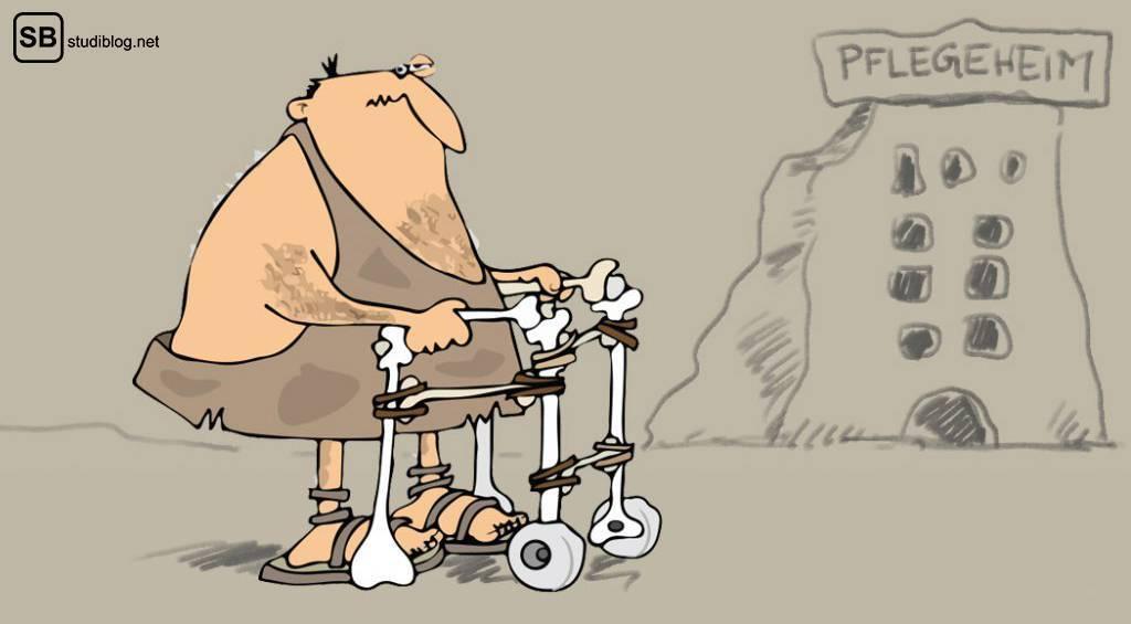 Private Pflegeversicherung / Rentenversicherung für Studenten: Steinzeit-Mensch steht mit einem Rollator aus Knochen vor einem Steinzeit-Pflegeheim
