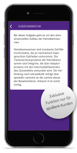 Lernen fürs Physikum - Lass mal kreuzen - Kurz-Kommentar-Funktion für apoBank-Kunden