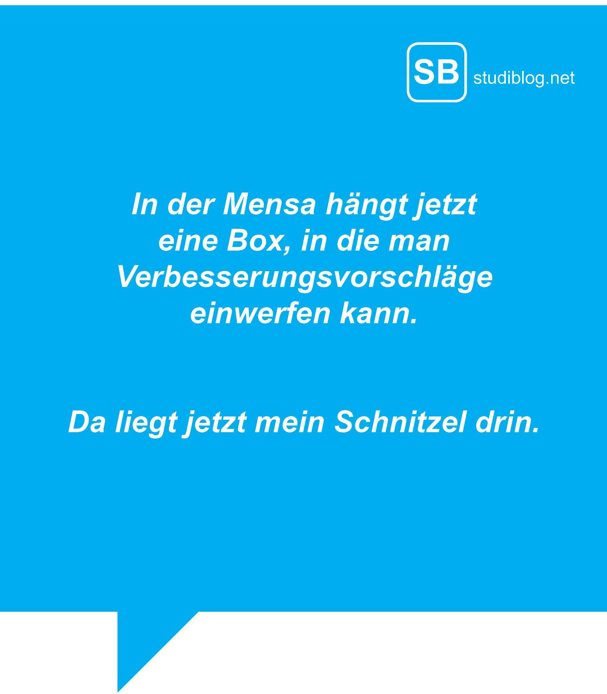 In der Mensa hängt jetzt eine Box, in die man Verbesserungsvorschläge einwerfen kann. Da liegt jetzt mein Schnitzel drin.
