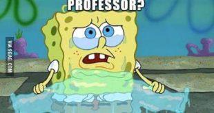 Spongebob, der Probleme bei seiner Hausarbeit hat