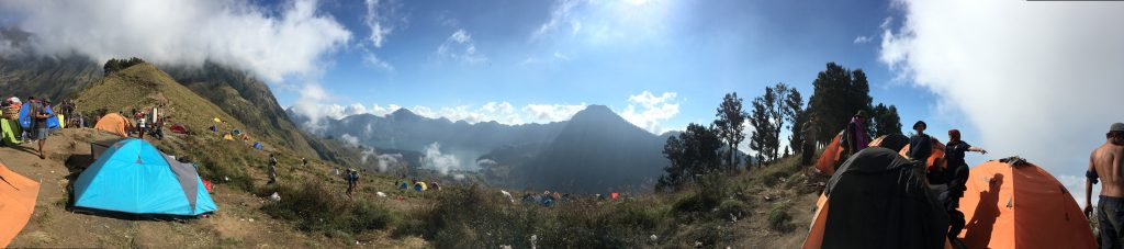 Basecamp at the Rinjani with tents