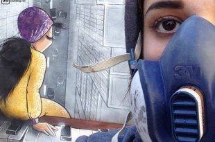 Shamsia Hassani: Afghanistans erste Graffiti-Künstlerin mit einem ihrer Kunstwerke
