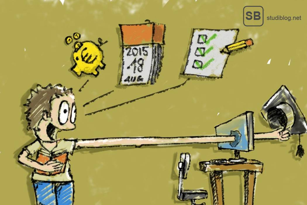 Zeichnung eines Studenten, der durch einen Bildschirm seinen Absolventenhut greift - Them Fernstudium.