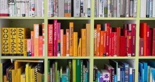 Eine Regalwand mit nach Farben sortieren bunten Büchern: Bücher für das Chemie-Studium im Test - Mortimer, Riedel und Chemie für Dummies