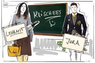 Klischees von Studiengängen: Lehramtsstudentin und Jurastudent werden gegenübergestellt.