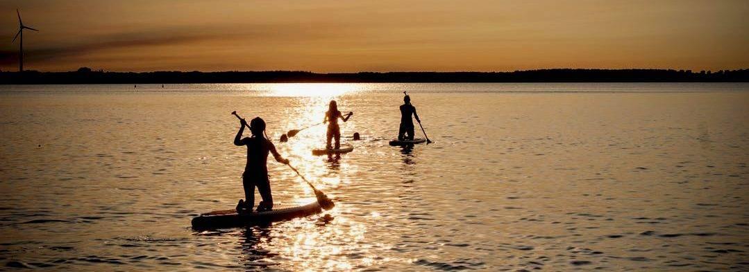 Freizeit-Aktivität im Sommer am See: Stand Up Paddling