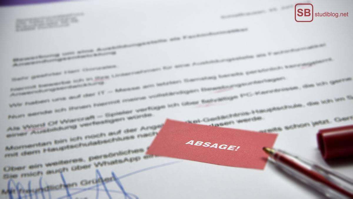 Schriftliche Studienplatzabsage: Möglichkeiten und Tipps / rejection