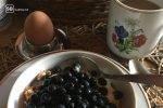 Mit frischen Heidelbeeren, Naturjoghurt und Müsli starte ich in den Tag.