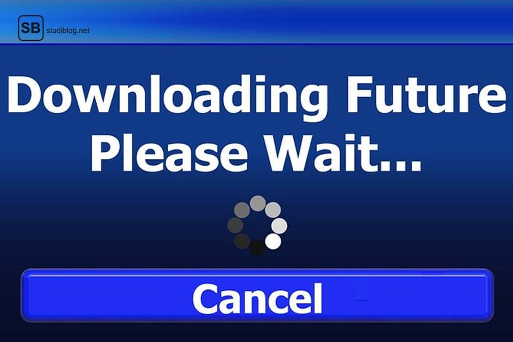 Screenshot mit blauem Hintergrund auf dem steht 'Downloading Future, Please Wait' zum Thema Studienabbruch.