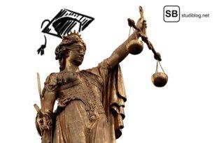 Ob und wann eine Studienplatzklage sinnvoll ist, darum geht es in diesem Artikel - das Bild zeigt die Justizia mit einem Doktorandenhut