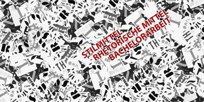 """Auf schwarz-weißem Hintergrund purzeln Buchstaben in verschiedener Größe rum, wobei in der rechten Hälfte in roter Schrift """"Stilmittel, rhetorische Mittel"""" steht."""