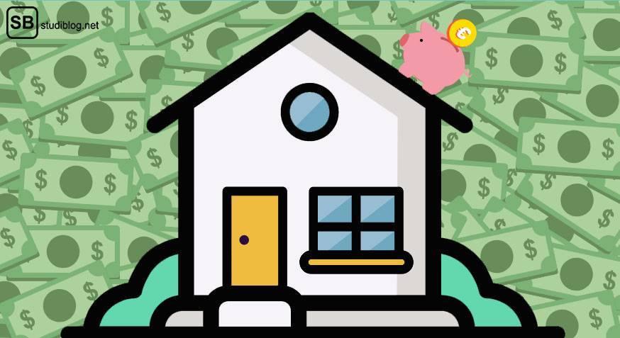 Bausparen für Studenten: Ein Haus mit einem Sparschwein auf dem Dach vor einer Menge Geldscheine