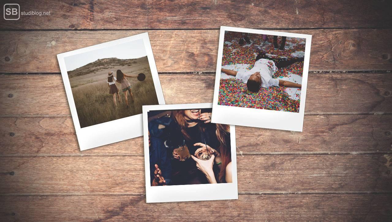 Nostalgie: 3 Polaroids auf einem Holztisch zeigen schöne Momente mit Freunden