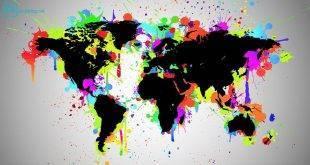 Städte-Trip: Top drei Ziele weltweit. Eine Weltkarte mit bunten Farbflecken.
