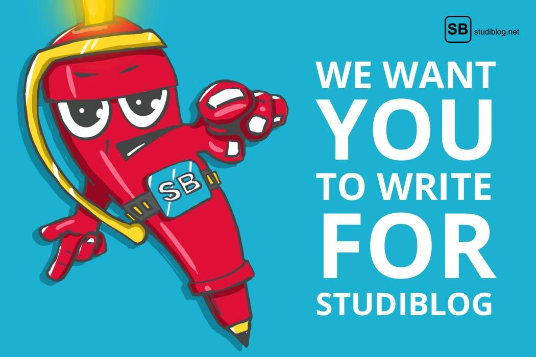 Über uns - Beitragsbild mit Helden in Form eines Kugelschreibers mit dem Text we want you to write for studiblog