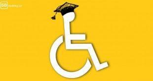 Studieren mit Behinderung: Rollstuhlfahrer-Symbol mit Absolventenhut