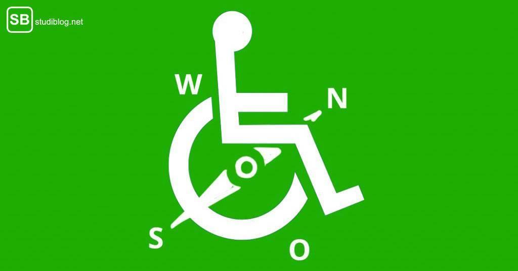 Studium mit Behinderung planen: Rollstuhlfahrer-Symbol mit Kompass-Symbol