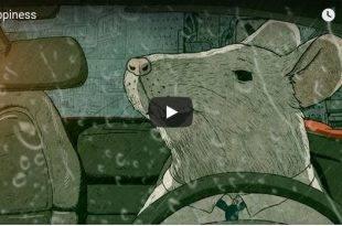 Konsum - Frohes Leben frohes Fest - Titelbild von Steve Cutts mit einer Ratte am Steuer eines Autos