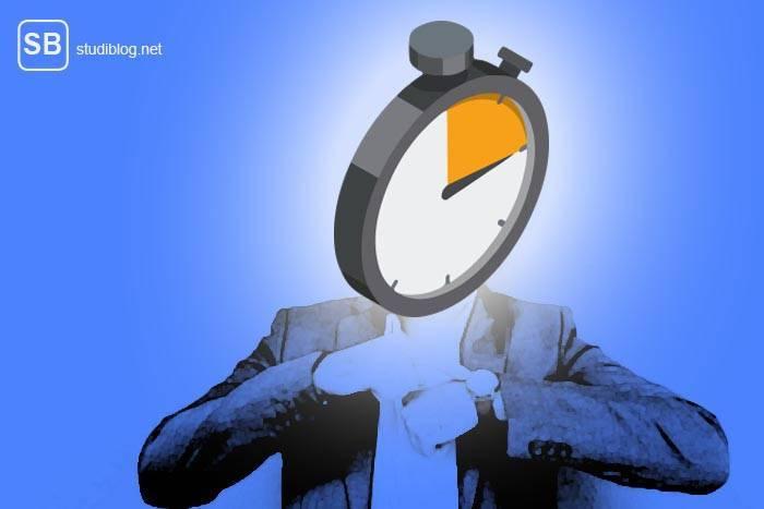 Mann mit einer Stoppuhr als Kopf zum Thema effektives Zeitmanagement - 10 Regeln