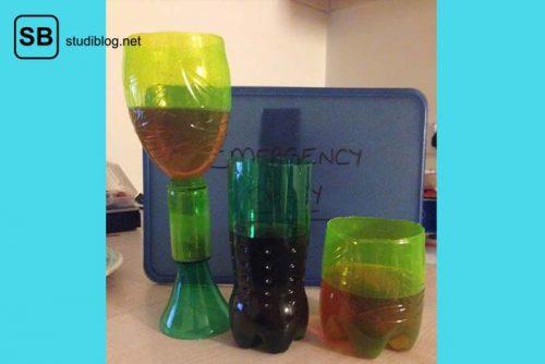 Weinglas, Longdrink-Glas und normales Glas aus PET-Flaschen gebastelt - Dinge, die arme Studenten machen.
