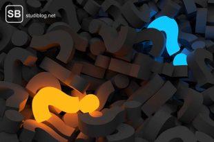 Unzählige schwarze Fragezeichen auf einem Haufen bis auf ein oranges und blaues - IMPP