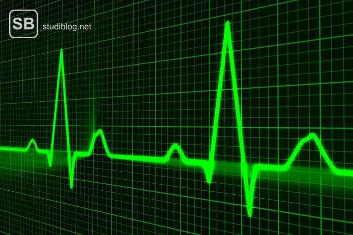 Grüne Pulslinie auf schwarzem Hintergrund mit grünen Karos - Organspende kann Leben retten.