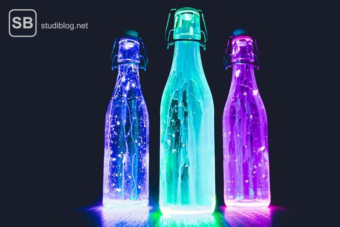 Partygetränke mit bunten Flaschen