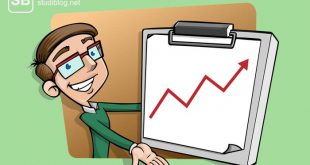 Buchhalter mit steigender Umsatzkurve zum Thema Job als Buchhalter