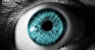 Ein weit aufgerissenes blaues Auge, der Rest davon s/w zum Thema mit voller Sehkraft konzentriert der Vorlesung folgen!