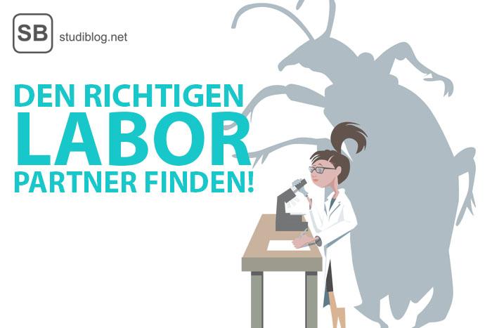 Studentin an einem Mikroskop, als Schatten hinter ihr ein großer Käfer zum Thema den richtigen Laborpartner finden!