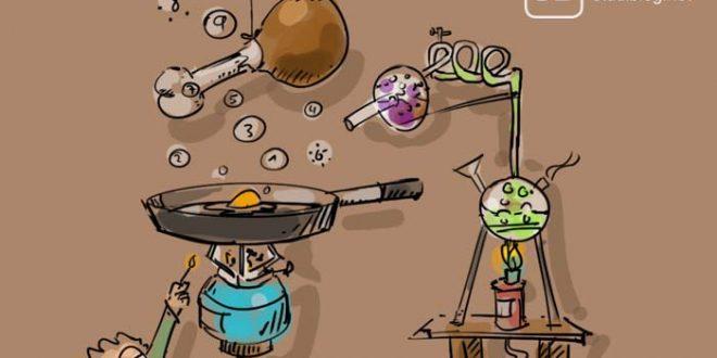Ein Student, der sich in der Küche / Kitchen versucht