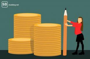 Titelbild Affiliate-Marketing - Geldstapel mit Autorin