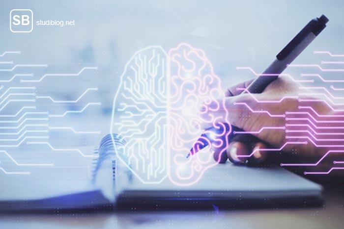 Medienorientierter Lerntyp - Gehirngrafik mit Schreibblock